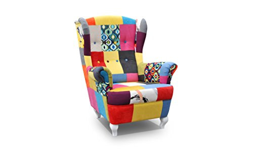 Ohrensessel Fernsehsessel Wohnzimmer-Sessel Relax-Sessel Loungesessel Armsessel PATCHWORK