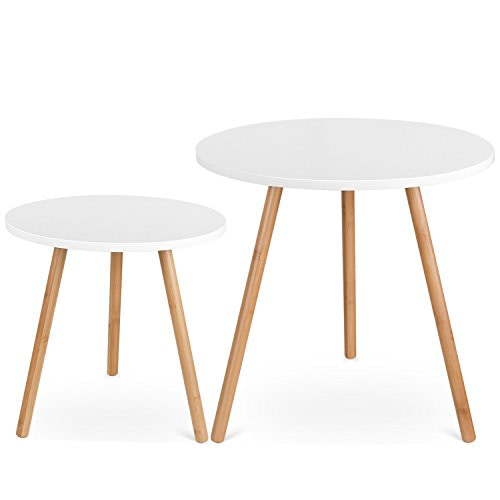 HOMFA Coffee Tables Round Side Tables Modern End Tables Occasional Tea tables Nesting Tables for Balcony and Living Room Set of 2 White
